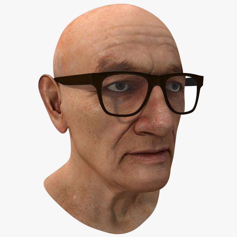 3d model elderly man head