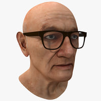 3d model elderly man head