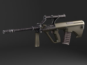 3d model of steyr aug a1 assault rifle