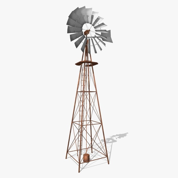 low-poly wind pump rusty 3d model