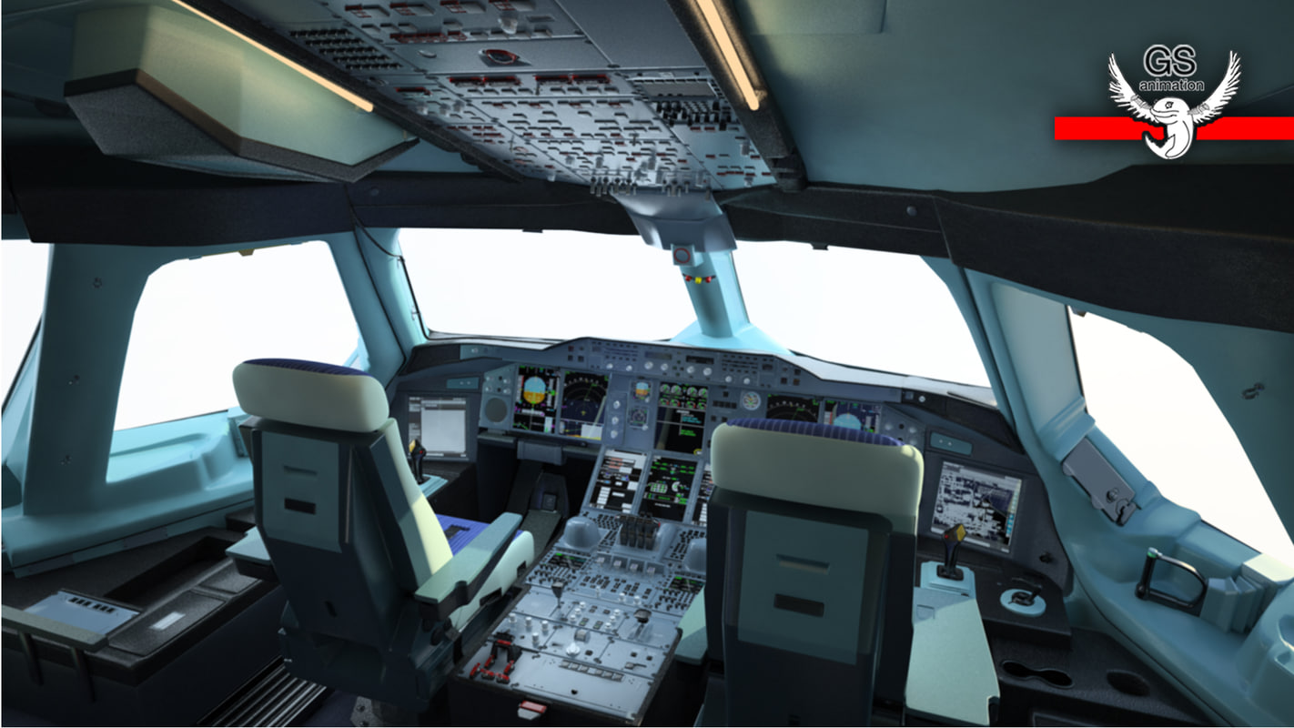 3d model airbus flight deck