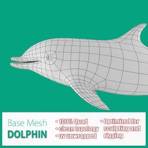 obj base mesh dolphin