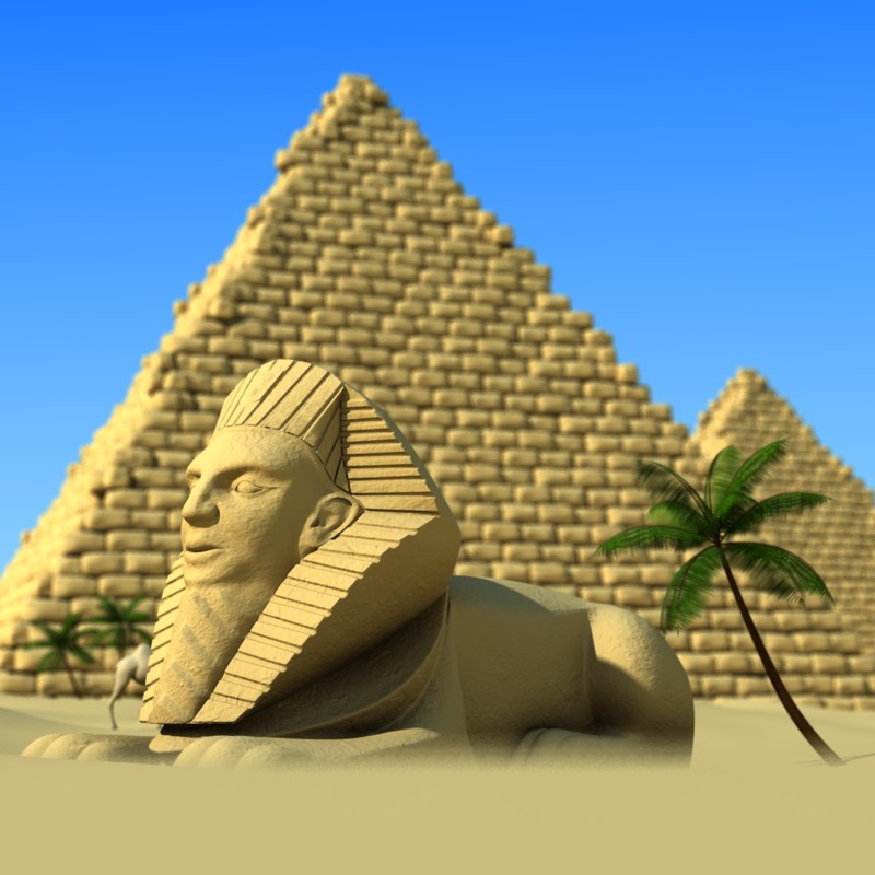 cartoon pyramids sphinx obj