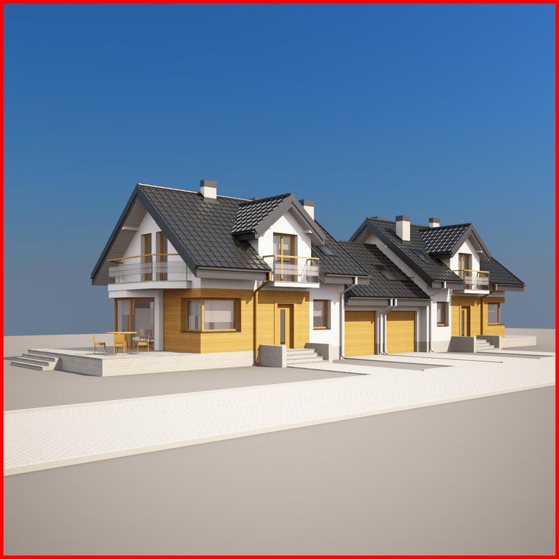 3d nice semi-detached house