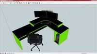 Green gaming desk