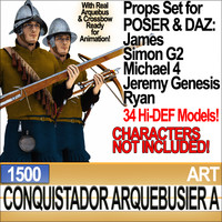 Props Set Poser Daz for Conquistador Arquebusier A 1500