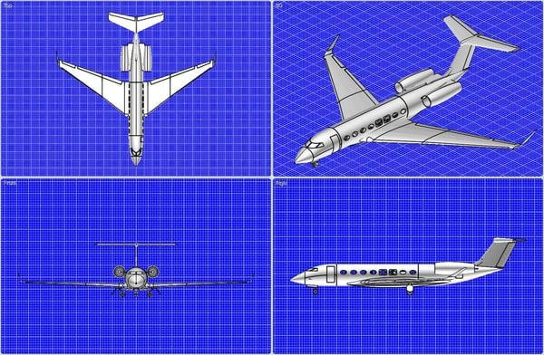 3dsmax gulfstream g-650 business aircraft