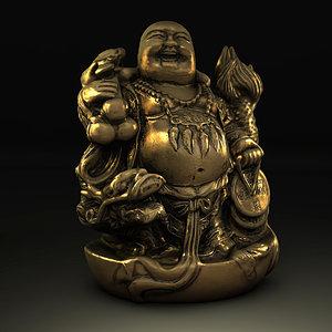 gold buddha statue 3d model