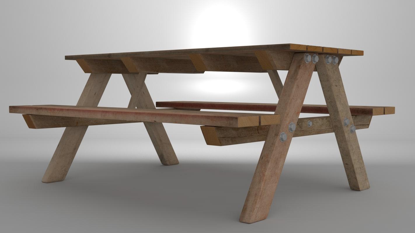 picnic bench park 3d x