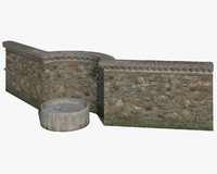 3d model of old stone wall