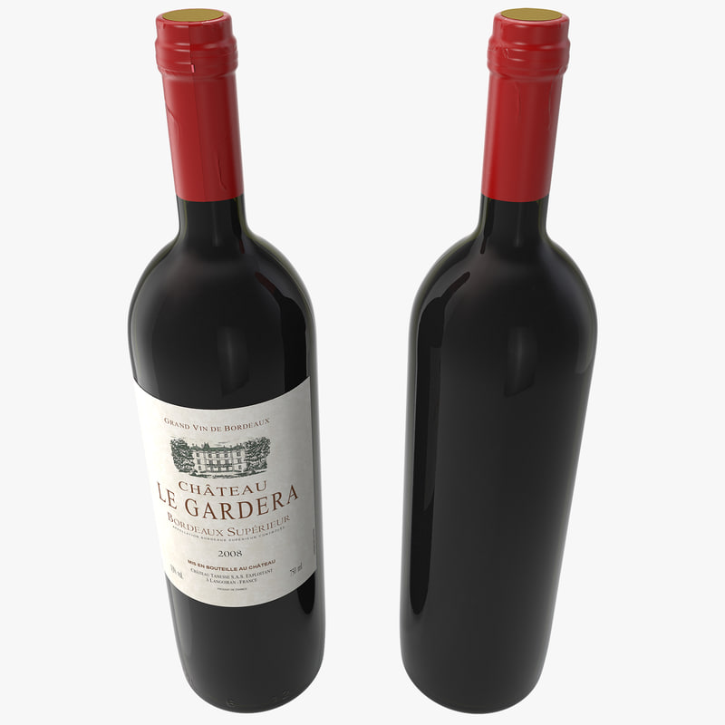 3d red wine bott