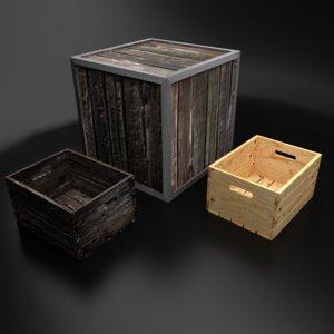 3d wooden crates open model