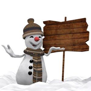 3d model snowman cartoon winter