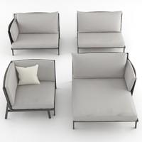 3d kettal vieques sofa set model