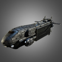 3d max sci-fi space transport ship