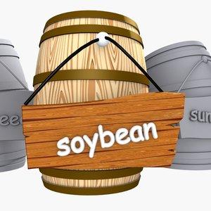 wooden cartoon barrel 3d max