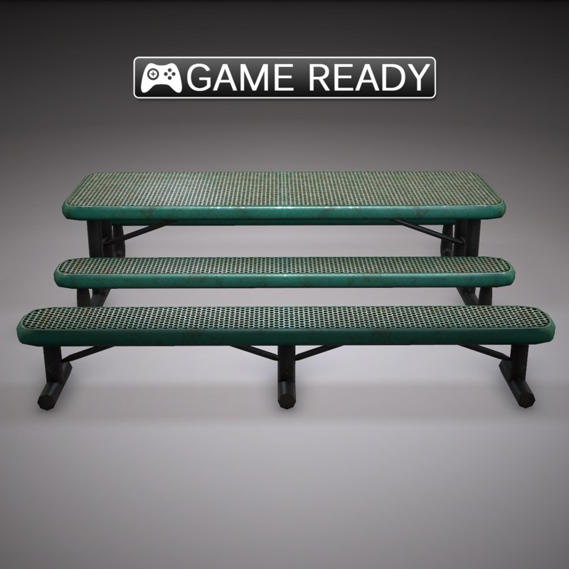 3d outdoor table bench