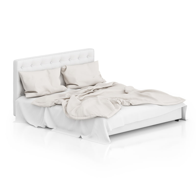 3d model white leather bed sheet