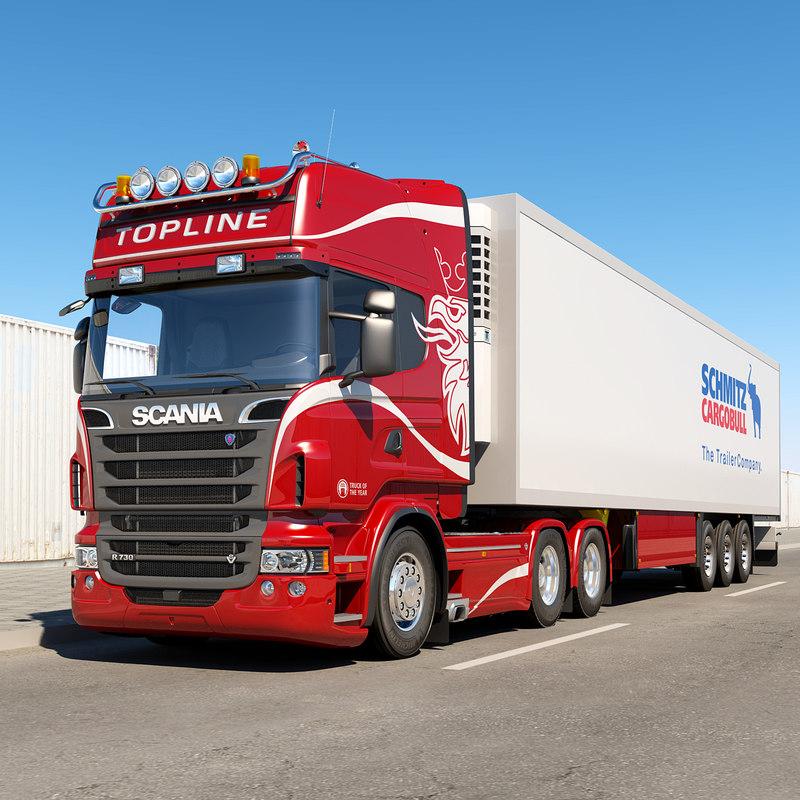 3d scania r trailer