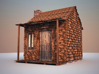 wood house 3d max