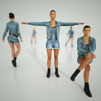 3d model woman jeans rigged