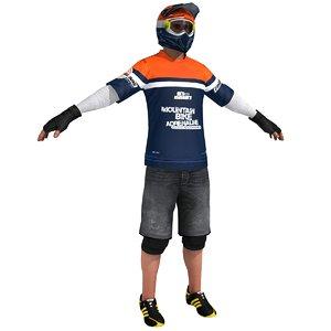 mountain bike bicyclist 3d model