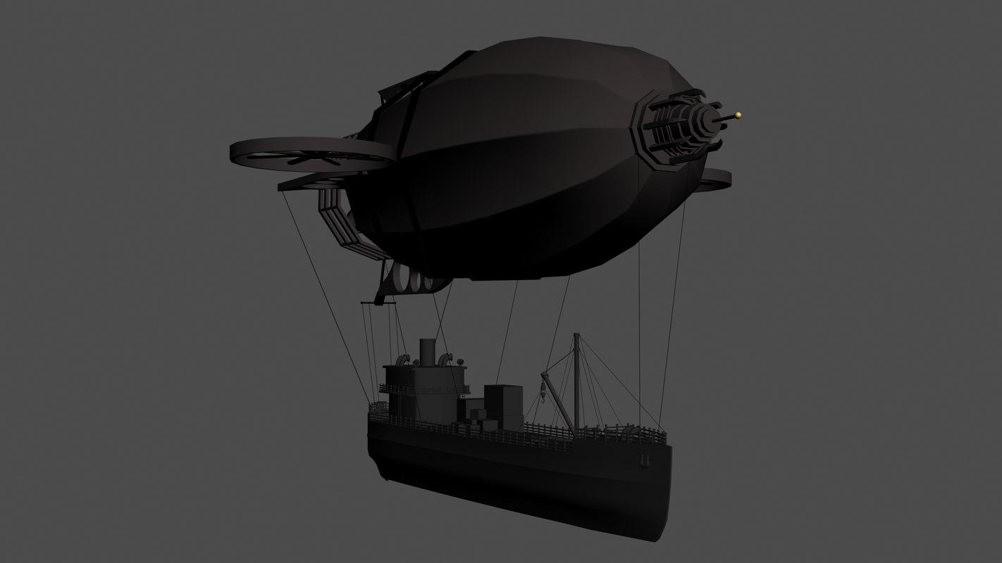 3d airship fantasy