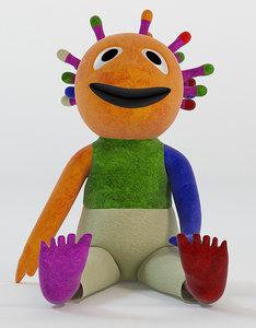 3d model of wink muppet toy