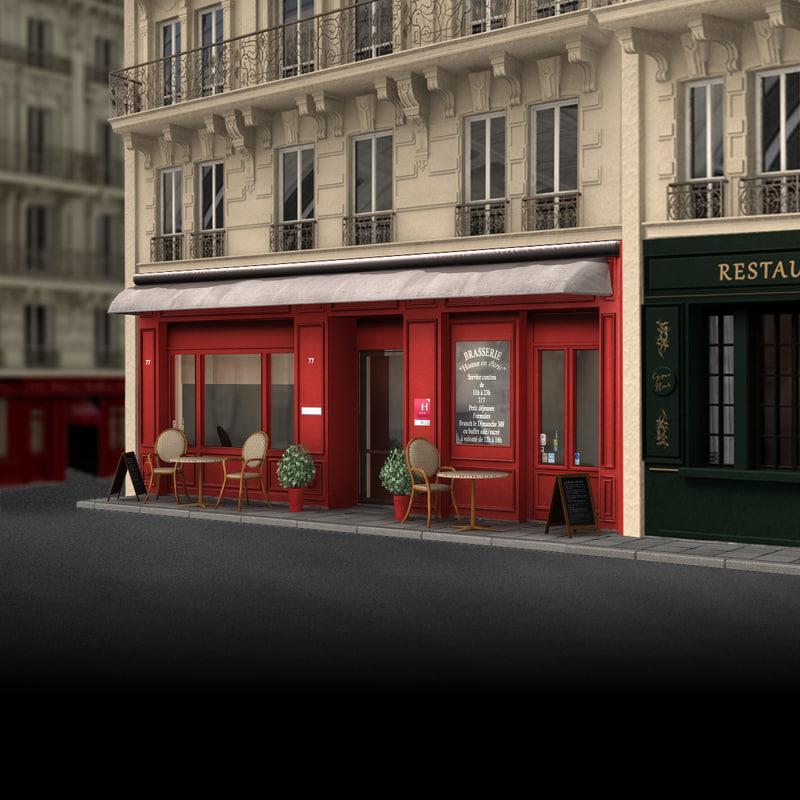 3d model france restaurant