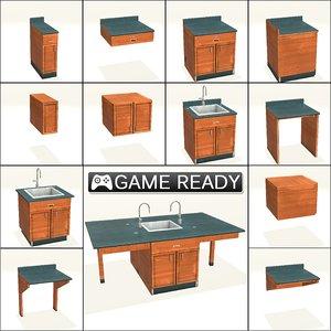 3d model modular cabinets sinks