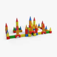 3d children toy blocks castle