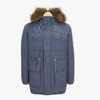 Men's Blue Winter Fur Coat