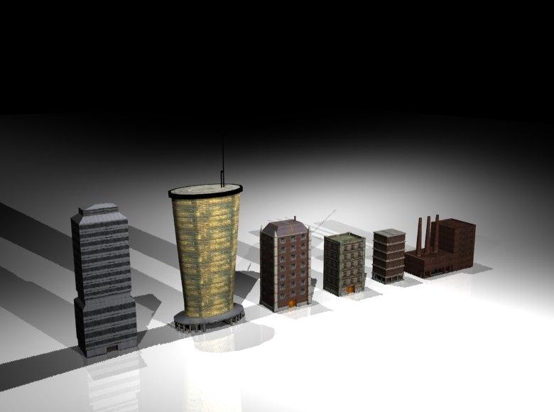 set mini buildings fbx