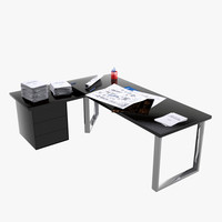 3d desk stationery model