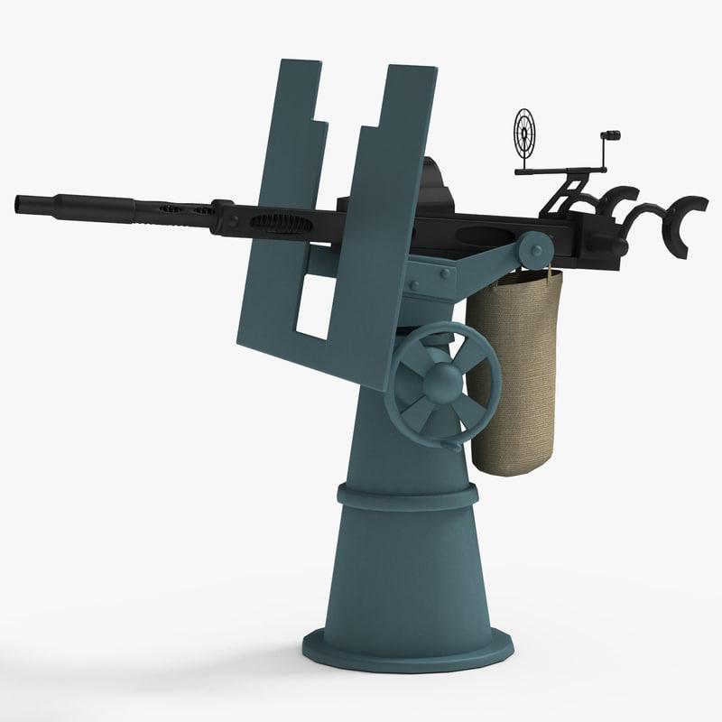 3dsmax 20mm oerlikon anti-aircraft