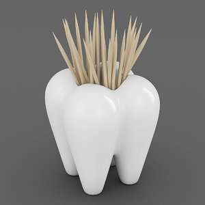 tooth toothpick holder 3d obj