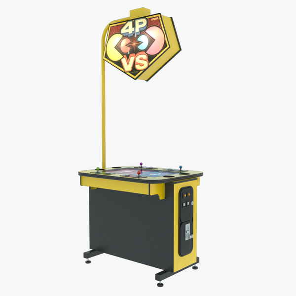 pac-man 4 players arcade 3d model