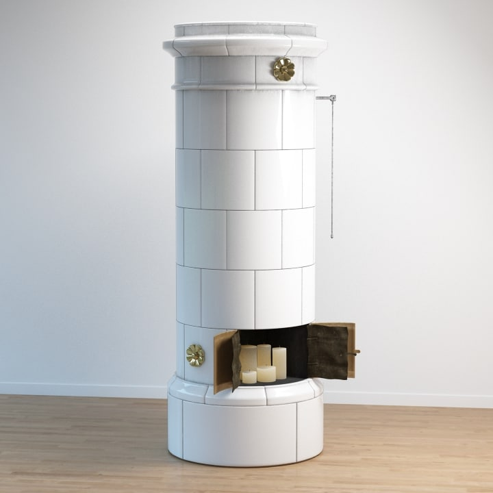 classic tiled stove 3d max