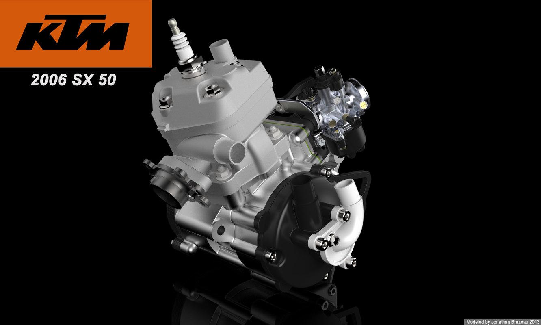 ktm 50 sx engine 3d model