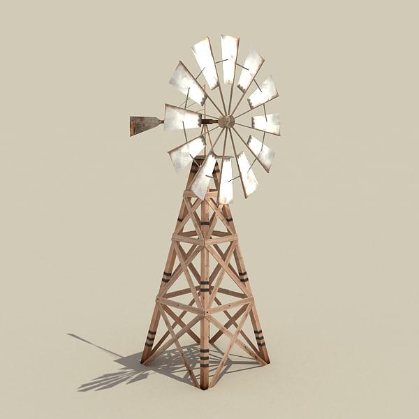3d model low-poly windmill wind