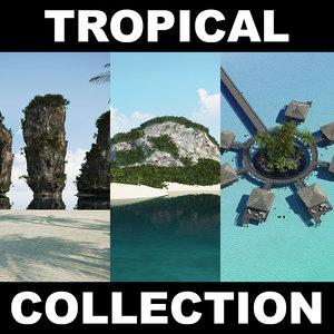 3d beach tropical island 2