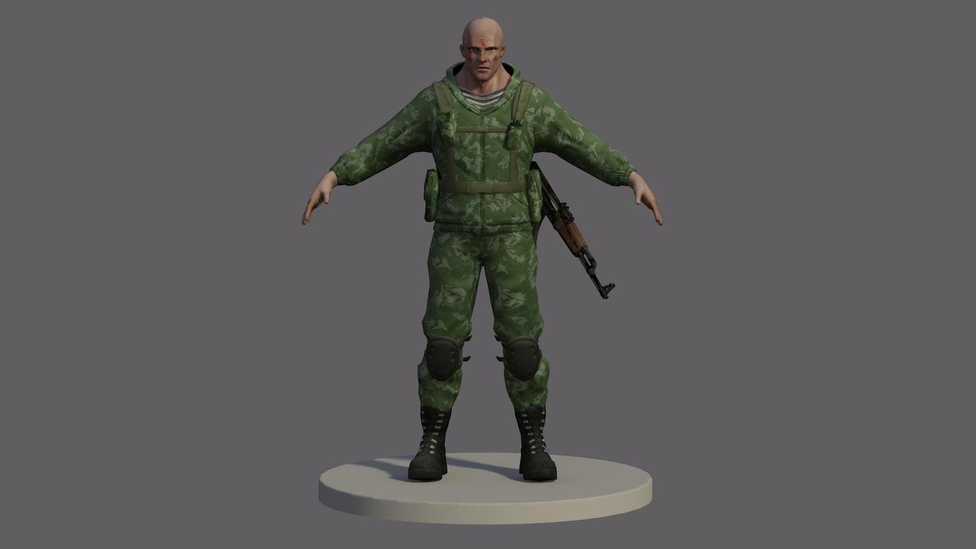 3d model russian marine