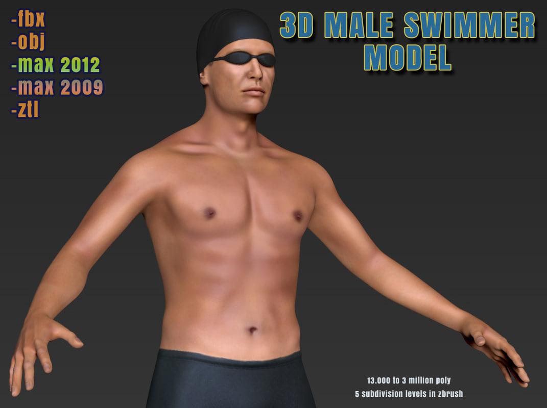 male swimmer 3d model