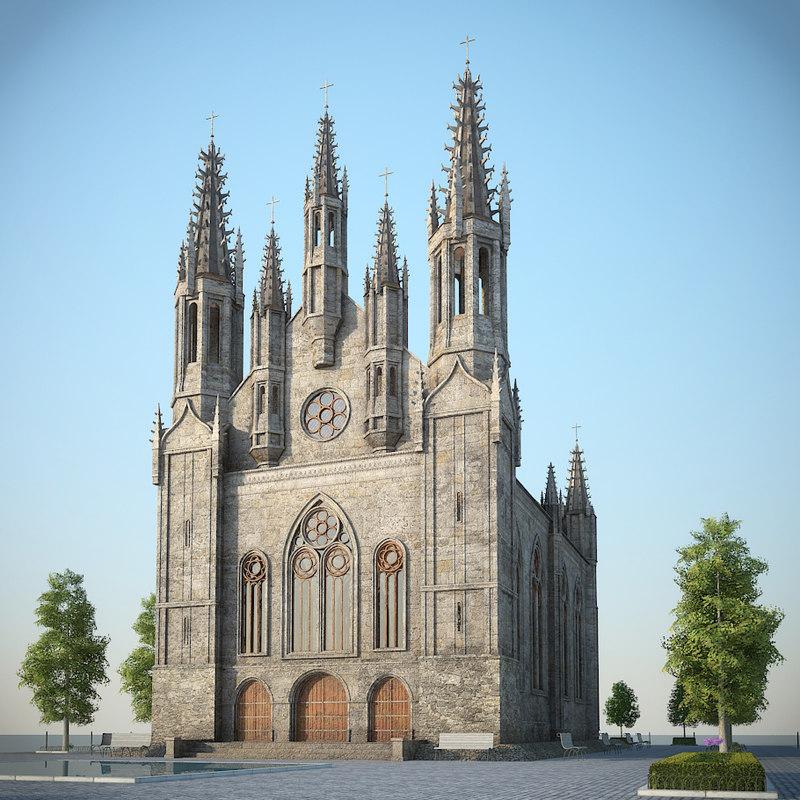 gothic church square 3d model