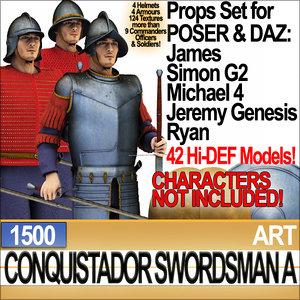 c4d props set daz conquistador