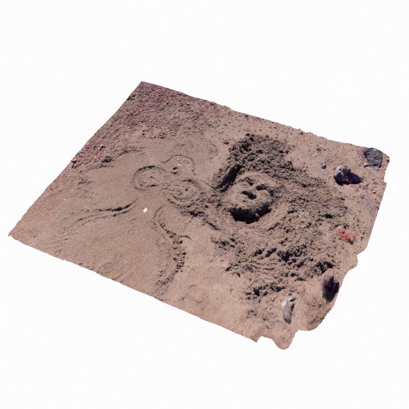 photogrammetry scanned beach sand 3d model