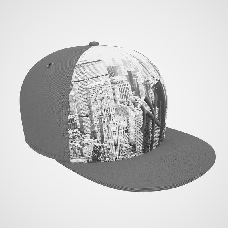 baseball cap ny 3d model