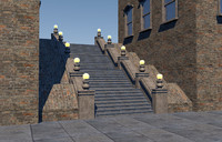 staircase parisian 3d c4d