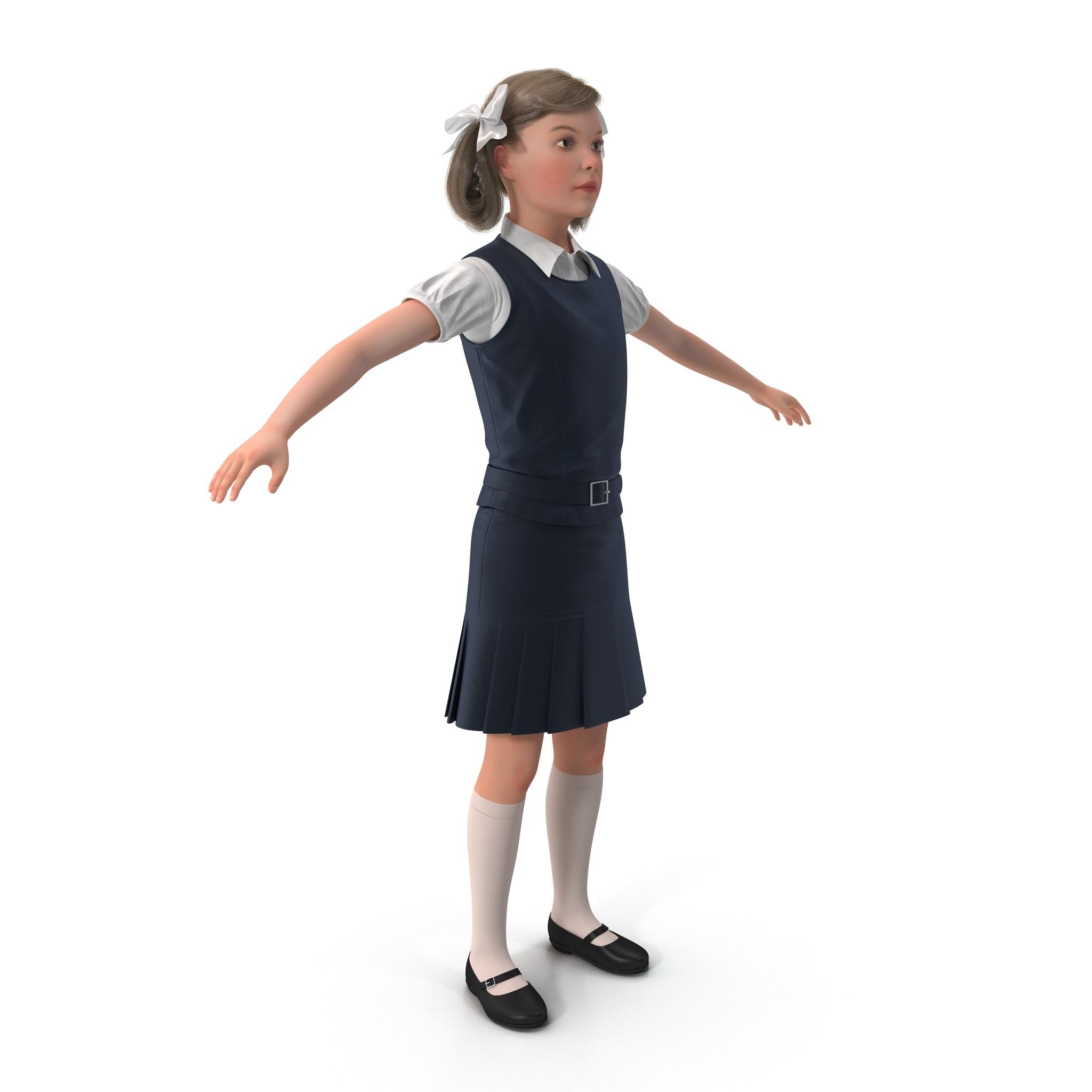 3d little school girl model