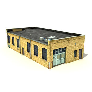 low-poly big warehouse 3d model
